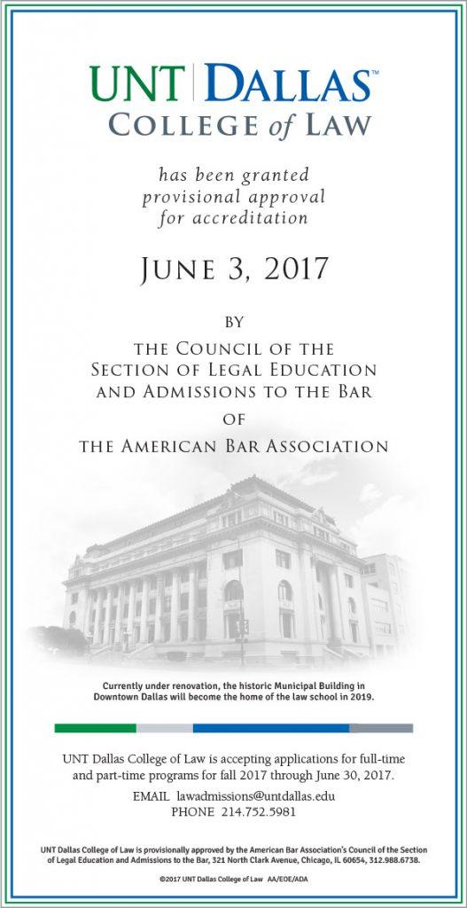 UNT Dallas College of Law accreditation | SullivanPerkins